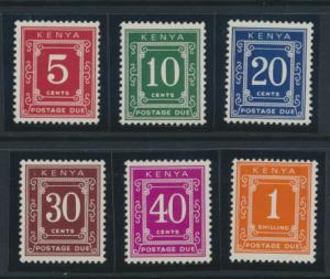 Kenya  SG D13 - D18 set of 6 Postage Dues Mint Never Hinged  see details