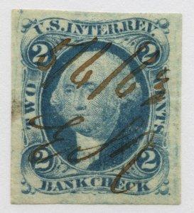 B65 U.S. Revenue Scott R5a 2-cent Bank Check imperforate 1863 manuscript cancel