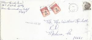 US 1305 & J91 (x2) Cover - Postage Due - October 1969 - F.D. Roosevelt