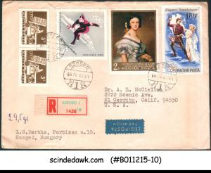 HUNGARY - 1968 REGISTERED ENVELOPE TO USA WITH 5-STAMPS