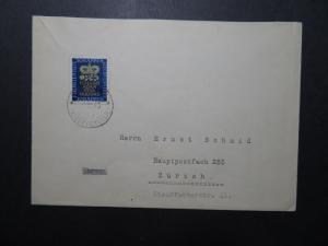 Liechtenstein SC# 213 on 1945 Cover to Zurich / Single Franking - Z11835