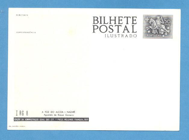 ART POSTAL STATIONERY PORTUGAL NAZARÉ FOZ DO ALCOA VIEW