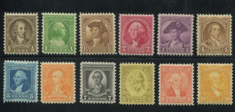 1932 US Postage Stamps #704-715 Mint VF Glazed Gum Washington Bicentennial Issue