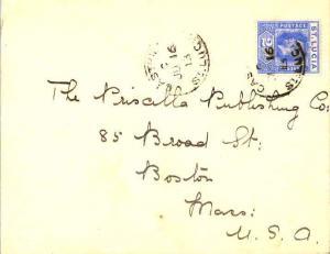 Saint Lucia 2 1/2d KGV 1913 Castries, St. Lucia to Boston, Mass.