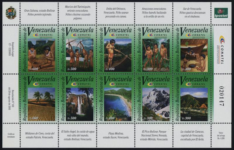 Venezuela 1632 MNH Amazonian Children, Mountains, Angel Falls
