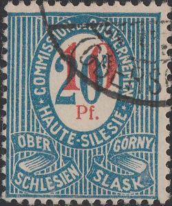 HAUTE SILÉSIE / OBERSCHLESIEN 1920 Mi.11a.Ia 10pf/20pf - VF Used