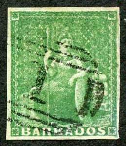 BARBADOS SG7 1855 1/2d Yellow-Green on White Paper Four Margins Cat 110