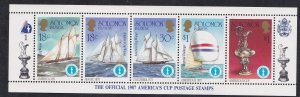 Solomon Islands # 570. Americas Cup Ships, Strip of 5 different, NH