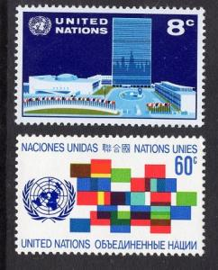 United Nations  New York  #222-223   1971 MNH  headquarters emblem