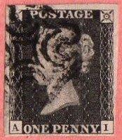GBR SC #1 U (A,I) 1840 Queen Victoria 4 margins w/black MC, CV $360.00