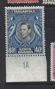 KENYA, UGANDA, TANGANYIKA   (PP1303B)  KGI 40C BIRD PLATE 1A SG 143  MNH