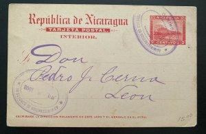 1903 Corinto Nicaragua Postal Stationery Postcard Cover To Leon
