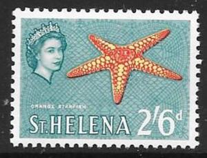 ST.HELENA SG186 1961 2/6 RED PALE YELLOW AND TURQUOISE MNH