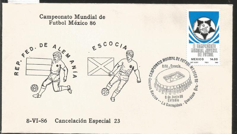 J) 1983 MEXICO, FEDERAL REPUBLIC OF GERMANY-SCOTLAND, BALL, SPECIAL CANCELLATION
