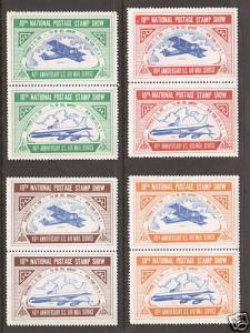 US MNH. 1958 ASDA Labels, vert se-tenant pairs cplt. VF