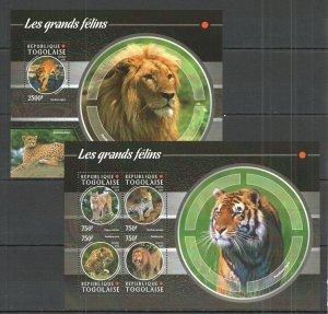 TG121 2015 TOGO FAUNA WILD ANIMALS WILD CATS LES GRANDS FELINS KB+BL MNH