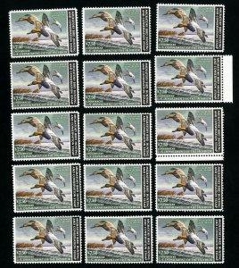 US Stamps # RW49 VF OG NH Lot of 15 PO Fresh Face $112.50