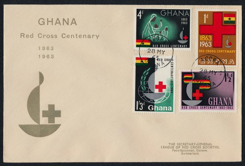 Ghana 139-42 on FDC - Red Cross / HipStamp