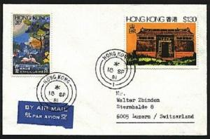 HONG KONG 1981 small airmail cover to Switzerland..........................94126