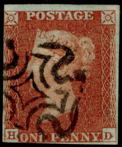 SG8, 1d red-brown PLATE 33, USED. Cat £60. BLACK MX. HD