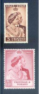 Trinidad & Tobago 1948 Silver Wedding SG259/60 Mounted Mint
