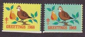 Christmas Seal from 1968 NG  pair