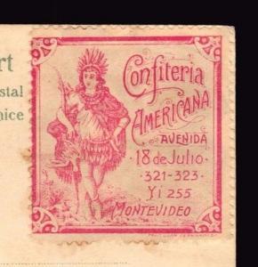Confiteria Americana Ca1890 Uruguay cinderella poster stamp Indian archer bird