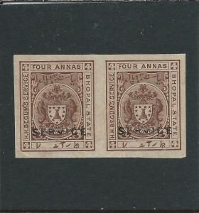 BHOPAL OFFICIAL 1908-11 4a BROWN IMPERF PAIR UNUSED AS USUAL SG O308c CAT £90
