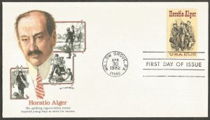 US FDC.1982 HORATIO ALGER 20C STAMP,FIRST DAY OF ISSUE COVER,WILLOW GROVE,PA