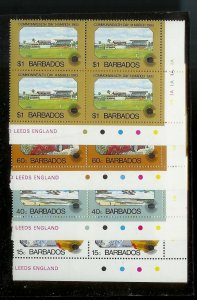 BARBADOS Sc#598-601 Complete Mint Never Hinged PLATE BLOCK Set