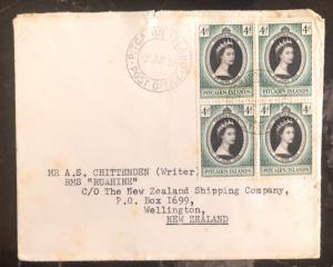 1953 Pitcairn Island First Day Cover FDC Coronation Queen Elizabeth 2 Qe2 To Nz