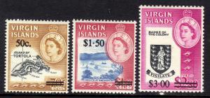 British Virgin Islands 1966 QE2 Set 3 Surcharged Umm SG 207 - 209 ( R264 )