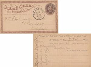 United States New York Syracuse 1874 target  1c Brown Postal Card  Reverse co...
