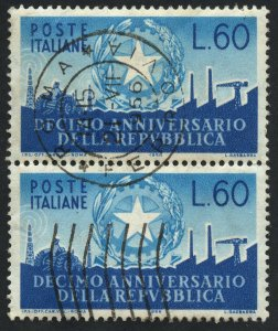 01861 Italy Scott #712 vertical pair used with CDS cancel