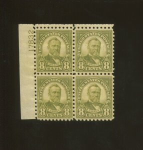 United States Postage Stamp #589 MNH VF Plate No. 17832 Block of 4