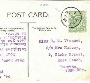 GB Card Printed Matter UNUSUAL *NBP* CDS CANCEL PPC London Taunton 1906 23b.6