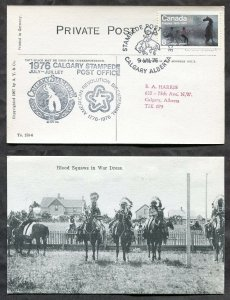 2029 - Canada CALGARY STAMPEDE 1976 Special PO Cachet on old Postcard. Indians