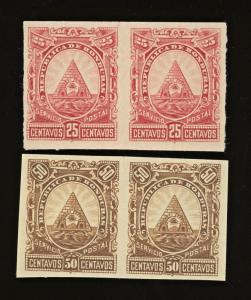1890 HONDURAS Sc #45 & #48 ~ IMPERF Pair  MH
