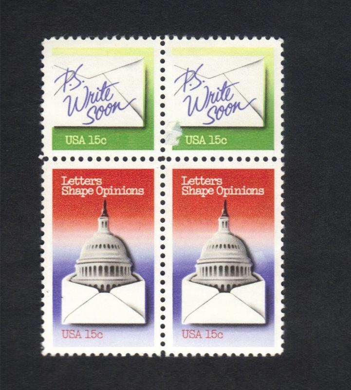 US Stamp #1809-10 (Block Of 4)MNH Letters Shape Opinions (2)Tenant Pair-Tied