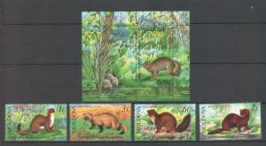 Moldova 2006 Fauna Animals 4 MNH stamps + Block