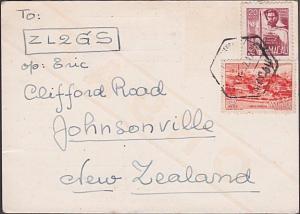 MACAU 1952 Radio QSL card used to New Zealand..............................87409