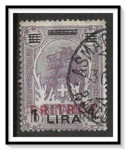 Eritrea #87 Lion Red Overprint Used