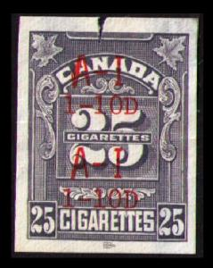 CANADA REVENUE TOBACCO TAX 1968 WINGS SERIE 25 CIGARETTES IMPERF CAT #RC817