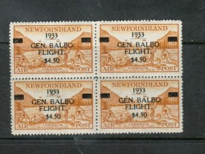 Newfoundland #C18 Extra Fine Never Hinged Block **With Certificate**