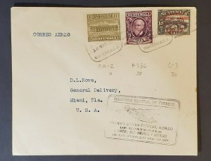 1930 Guatemala to Miami Florida USA First Flight Air Mail Cover