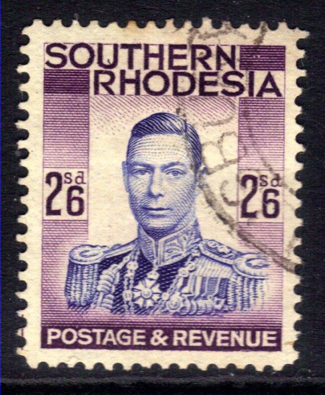 Southern Rhodesia 1937 KGV1 2/-6d Blue & Purple used SG 51 ( C756 )