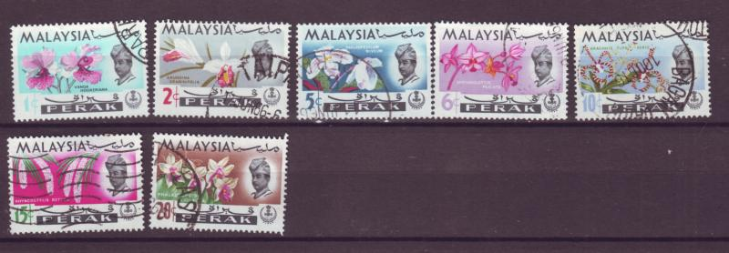 J18017 JLstamp  [low price] 1965 malaya perak set used #139-45 flowers