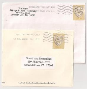 Two 59c Wedding Hearts SOLO USAGE #4272 one on wedding reply