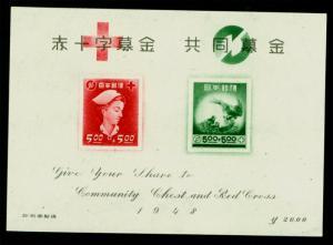 JAPAN  1948   RED CROSS  - BLOCK S/S  Sk# C137   mint  MNH**