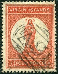 BRITISH VIRGIN ISLANDS-1887-89 4d Chestnut Sg 35 FINE USED V33666